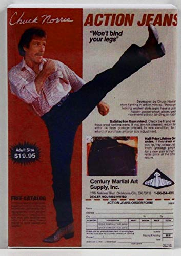 Chuck Norris Action Jeans Refrigerator Magnet.