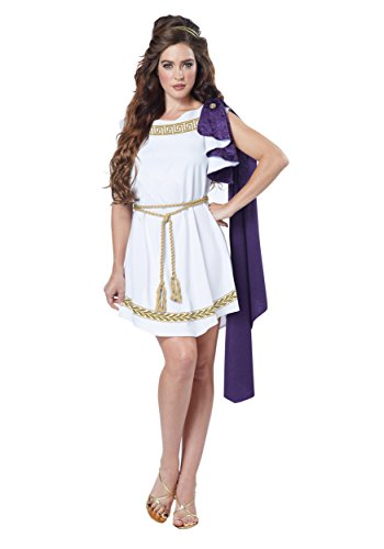 Ancient Greek Women Costumes (California Costumes Women's Grecian Toga Dress, White/Purple, Medium)