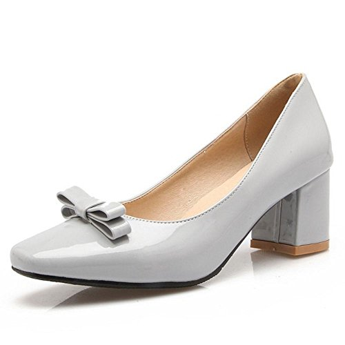 LongFengMa Women Fashion Block Mid Heels Slip On Pumps Shoes Grey