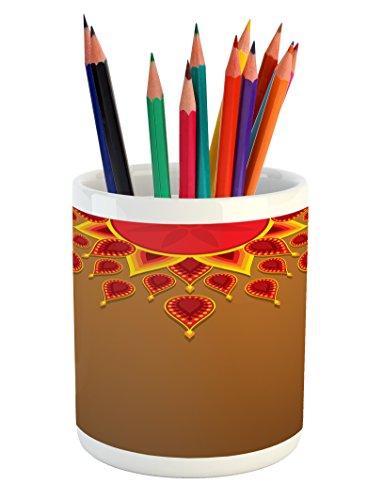 Celebration Caramels (Diwali Pencil Pen Holder by Ambesonne, Oriental Paisley Design with Sun Beams Like Details for Festive Celebration Theme Print, Printed Ceramic Pencil Pen Holder for Desk Office Accessory, Caramel)