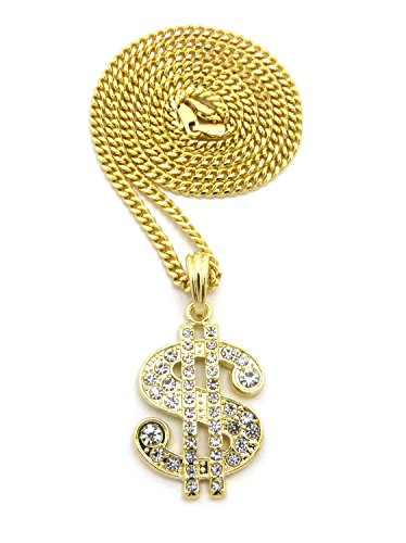 Iced Out Dollar Sign $ Pendant 24