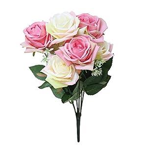 CYCTECH 7 Head Artificial Roses Fake Flowers Bridal Bouquet Hydrangea Arrangements for Home Wedding Garden Floral Decor 41