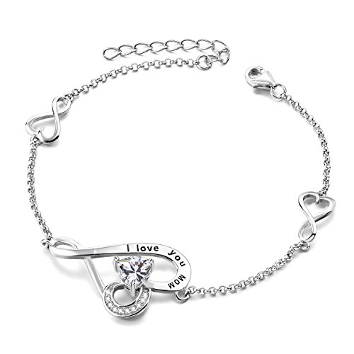Mother's Birthday Gifts I Love You Mom Sterling Silver Love Heart Infinity Adjustable Charm Bracelet by Long Way