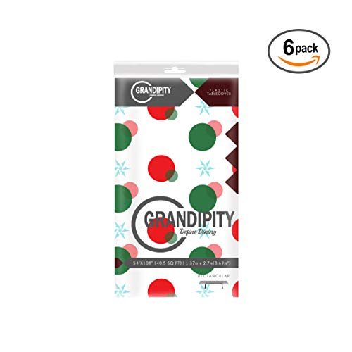 Red and Green Holiday Snow Flake Design 6 Pack Premium Disposable Plastic Tablecloth 54 Inch. x 108 Inch. Rectangle Table Cover By Grandipity