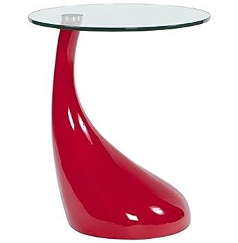 Table Basse Tisch In Tropfenform Lackiert Rot Beistelltisch Mit
