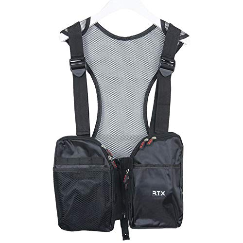 Workwear Tool Vest Bag with Zipper Pocket Pouch/Breathable Mesh Material/Electricians, Framer, Surveyors, Contruction, Fishing, Carpenter, Mountain climbing, Versatility (black)