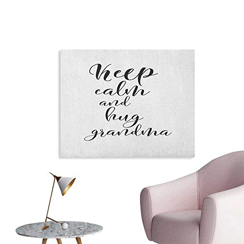 Anzhutwelve Grandma Photographic Wallpaper Keep Calm and Hug Your Grandma Hand Lettering Quote Brush Calligraphy Pattern Wall Poster Black White W32 xL24