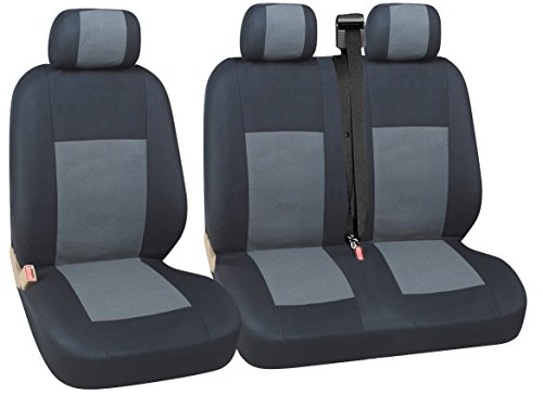 flexzon Quality Grey Black Fabric Seat Covers Fits VW Transporter T4 1992-2003 T5 Multivan Caravelle Renault Master Trafic Citroen Dispatch Relay Fiat Scudo Ducato T28/30 Peugeot Expert Boxer Ford