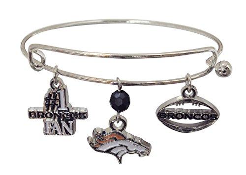 Pro Specialties Group NFL Denver Broncos Three Charm Logo Bracelet - Denver Broncos Charm