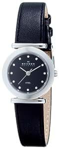 Skagen Women's 107SSLB Stainless Steel Swarovski Crystal Accented Leather Watch