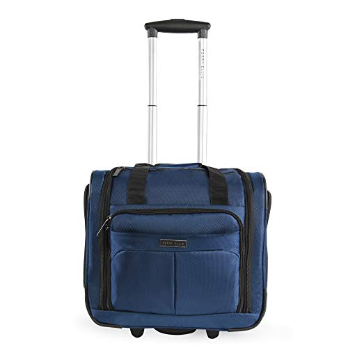 41NL%2BeotqrL - Perry Ellis Men's Excess 9-Pocket Underseat Rolling Tote Carry-on Bag Travel, Navy, One Size