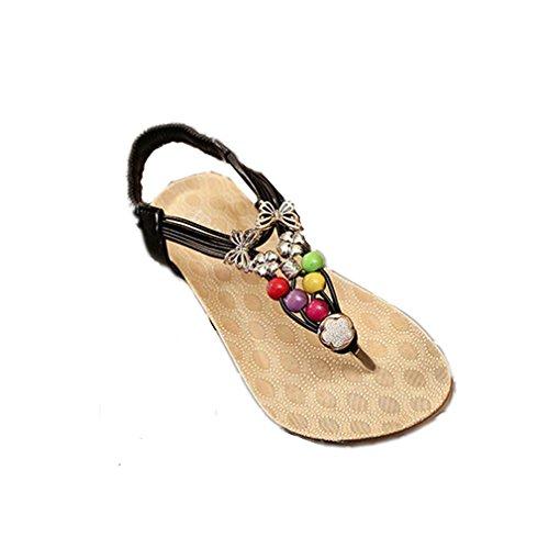 Koly Women Summer Bohemia Sweet Beaded Sandals Flip Flop Sandals Beach Shoes Black