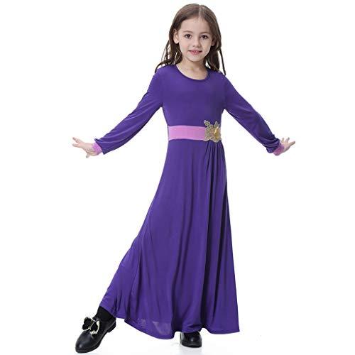 - Hstore Kids Girl Muslim 26D Flower Applique Long Sleeve Maxi Full Length Dress