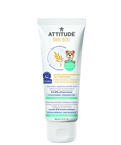 Attitude Natural Soothing Body Cream – Daily Moisturizer Baby, Fragrance Free, 6.7 Fluid Ounce