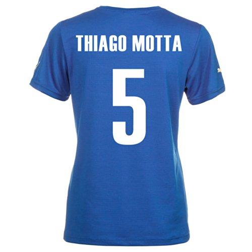 ツインスケジュール分注するPuma THIAGO MOTTA #5 Italy Home Jersey World Cup 2014 (Women)/サッカーユニフォーム イタリア ホーム用 ワールドカップ2014 背番号5 ティアゴ?モッタ レディース