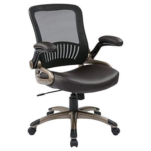 Screen Back and Bonded Leather Seat Manager's Chair (Brown) ()