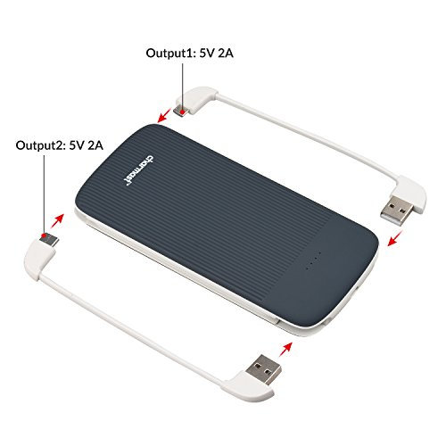 10000mAh ability Bank External Battery portable Charger Pack through made in Type C Micro USB Cable for iPhone Samsung Huawei Android Cell smartphones Grey External Battery Packs
