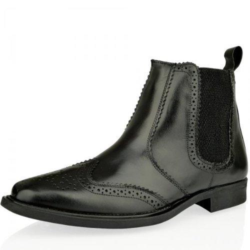 Botines para Hombre Cuero Calado Chelsea Dealer Oficina Elegante Invierno - Negro, Piel y goma, 42: Amazon.es: Zapatos y complementos