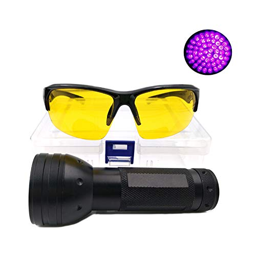 Nikauto LED Flashlight Multifunction Black Light 51 LED Flashlight with Protective Glasses Detector for Camping Hiking Indoors Outdoors Work Detecting