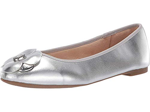 Womens New Flat - Circus by Sam Edelman Women's Cecilia Ballet Flat, Soft Silver New Metal Grain, 6.5 M US