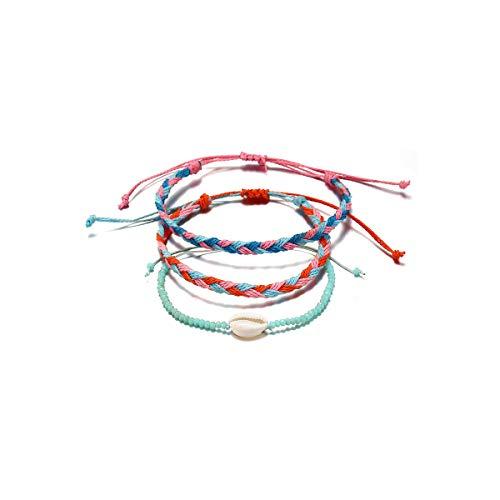 (ASHMITA Summer Wave Strand Bracelet Girls Bohemian Bracelet Adjustable Handmade Waterproof Wax Coated Braided Rope Set)
