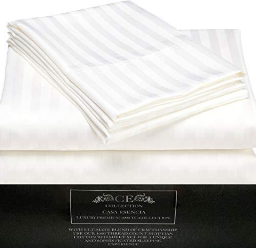 CE CASA ESENCIA Luxury 100% Egyptian Cotton Sheets 1000 Thread Count 4 Piece Extra Deep Pocket Bed Sheet Set Sateen Stripe (King, White) (Sheets Pima Cotton)