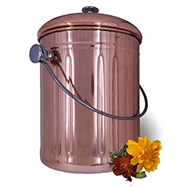 Copper Countertop Compost Bin Crock Bucket for Indoor Kitchen Use - Copper Coated Stainless Steel Pail 1 Gallon – BONUS Includes 2 Sets of DUAL Charcoal Filters