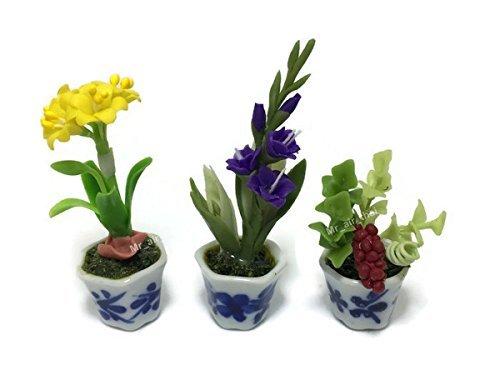 3 Unidades de Miniatura de Arcilla de Flores para casa de muñecas o jardín, Mini árboles de cerámica para Pintura,...