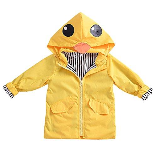 Birdfly Unisex Kids Animal Raincoat Cute Cartoon Jacket Hooded Zip Up Coat Outwear Baby Fall Winter Clothes School Oufits (5T, Quacker) by Birdfly (Image #2)