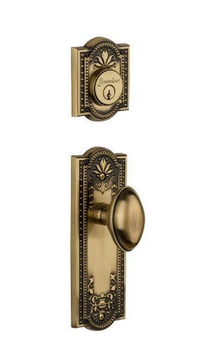 Grandeur Parthenon Plate with Eden Prairie Knob and Matching Deadbolt Complete Single Cylinder Combo Pack Set, Vintage - Parthenon Single Brass