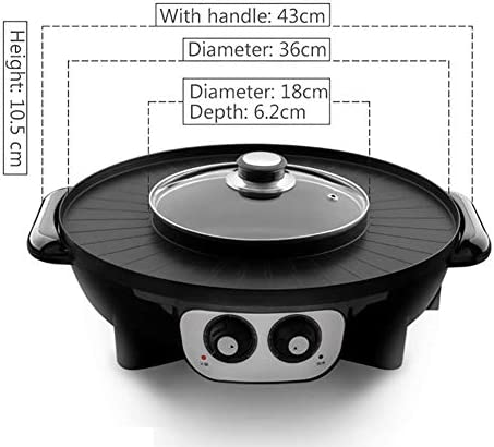 Barbecue électrique 220 V multifonctionnel Griddles Hotpot BBQ rôtissoire 2 en 1 machine sans fumée antiadhésif Barbecue for 1-4 personnes DYWFN