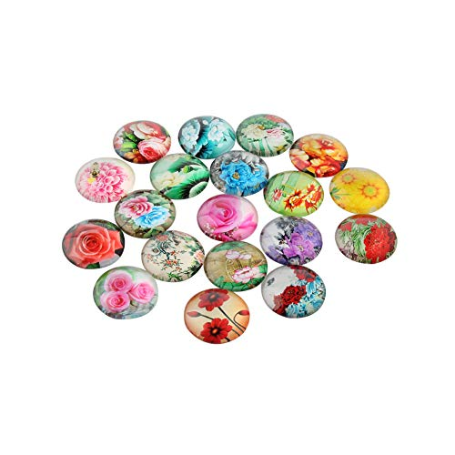 NBEADS 200PCS 12MM Flower Printed Glass Cabochons Flatback Dome Cabochons Pendant for Jewellery Making ()