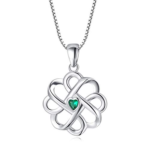 LAIMALA Celtic Knot Cross Sterling Silver CZ Good Luck Vintage Pendant Necklace Womens (Knot Cetic)