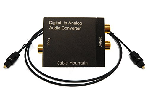 Cable Mountain Digital Optical TOSlink/Digital Coaxial to RCA Analogue Phono Audio Converter with 1m TOS Cable