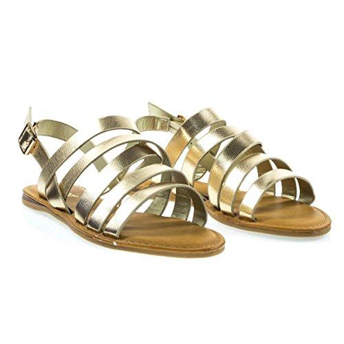 Sandal Open Gold Flat Summer Toe Criss Gladiator w Crossing Straps CWvqHfw