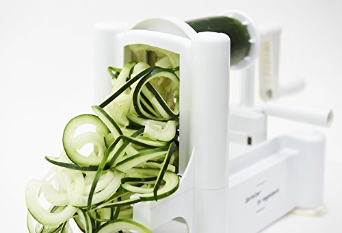 5 Blade Spiralizer - Spiral Slicer, Vegetable Maker, Shredder ! Makes Zucchini Noodles, Veggie Spaghetti, Pasta, and Cut Vegetables in Minutes. Includes Blade Storage Box! by Veggiespize (Image #4)