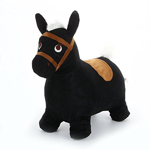 Hopping Horse - iPlay, iLearn horse hopper Inflatable Hopping Horse Plush covered with pump (Black) (Kids Plush Dinosaur Wings Costume)