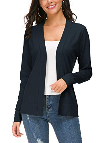 Urban CoCo Women's Long Sleeve Open Front Knit Cardigan Sweater (S, Navy Blue)