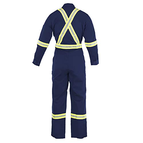 Flame Resistant FR High Visibility Hi Vis Coverall - 88% C/12% N (X-Large, Navy Blue) by Just In Trend (Image #1)