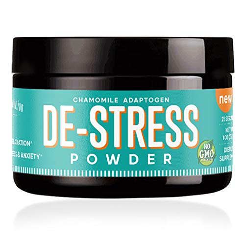DE-Stress Powder - Stress Relief Supplement, Anxiety Relief, Natural Calm & Anti-Anxiety Support - (25 Servings) w/L-Theanine, Ashwagandha, Chamomile, GABA & Valerian - 0 Calories | 4oz Jar