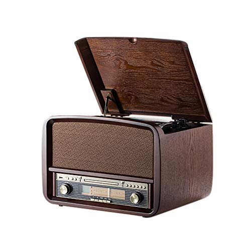 Rcm Vintage MC-255BT 6-in-1 Wireless Vinyl Record Player with 3 Speed Turntable, FM Radio, CD, USB for MP3 Play & Recording, Built-in 2x10 Watts RMS Powerful Stereo Speakers