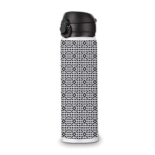 Geometric Simple Stainless Steel Bottle,Ornamental Motifs Vertical Horizontal Stripes Squares with Oval Corners Decorative for Indoor Outdoor,9