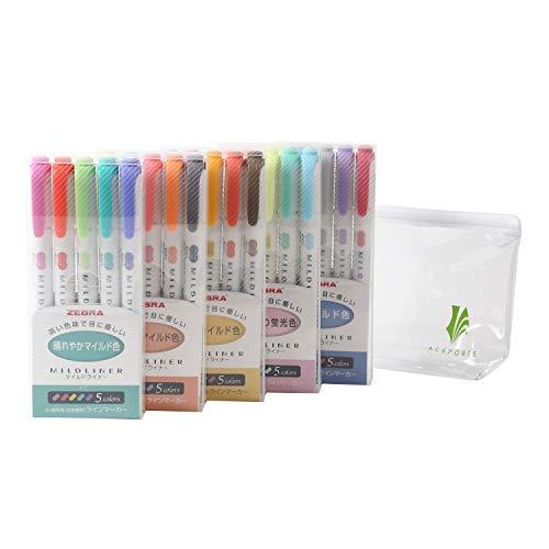 ZEBRA MILDLINER Highlighter pen markers, 5-Pack (WKT7-5C / WKT7-5C-NC / WKT7-5C-RC / WKT7-N-5C / WKT7-5C-HC) 25 Color Full Range Set with Original vinyl pen case by ZEBRA MILDLINER (Image #1)