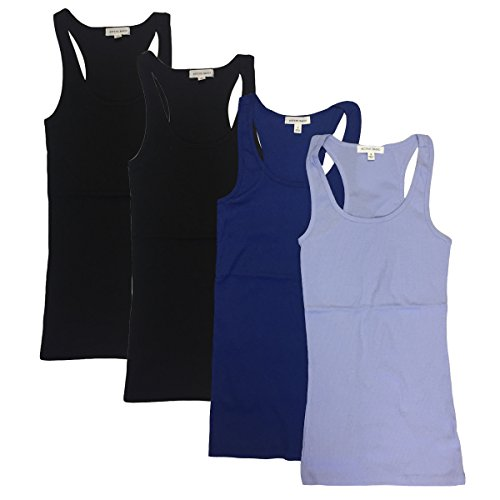 Ribbed Ladies Pastel Tank Shirt (Active Basic Women's Ribbed Tank Top Large (4 pack: Pastel Blue, Royal Blue, Black, Black))