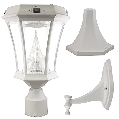 UPC 853153005299, Gama Sonic Victorian Solar Light Fixture with 9 Bright-White LED and Pole/Post/Wall Mount Kit, White #GS-94FPW WHITE