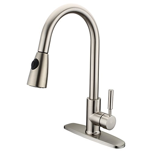Kitchen Faucet, Lichamp 16 Inch High Arch Stream and Spray Sink Faucets with Pull Out Sprayer, Stainless Steel Single Handle Brushed Nickel Lead Free cUPC and NSF Certificated Faucet with Deck Plate 3 Hole High Arch