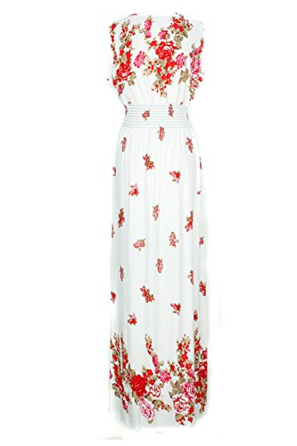 G2 Chic Women's Basic Casual Lounge Spring Summer Maxi Dress(DRS-MAX,WHT-L)