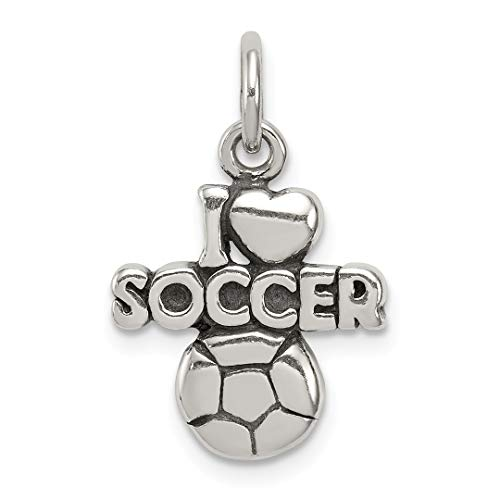 925 Sterling Silver Antique I Heart Soccer Pendant Charm Necklace Sport Fine Jewelry Gifts For Women For Her for $<!--$34.95-->
