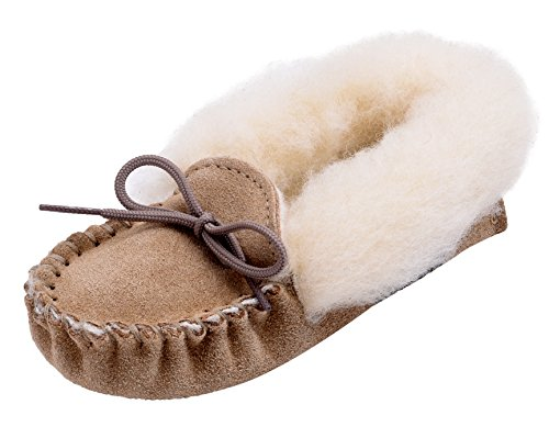 Genuine Sole Lambswool Lambland Beige Fluffy Suede Slippers Beige Pink Boys with Soft Moccasin and Girls Blue qvvEpB