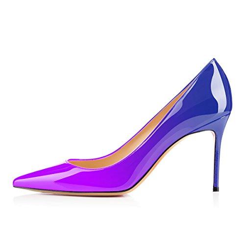 Eldof Womens Comfort Office Pumps Tacco Alto Pompe Per Matrimonio Patry / 8 Cm Viola Blu